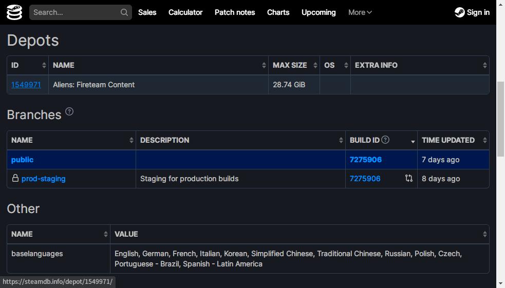 PC ゲームで使われているゲームエンジンを特定する方法、PC ゲームのゲームエンジン特定方法、SteamDB(Steam Database)でゲームエンジンを特定、Aliens: Fireteam Elite - AppID: 1549970、Depots をクリック、Content 表記がある ID 1549971 をクリック