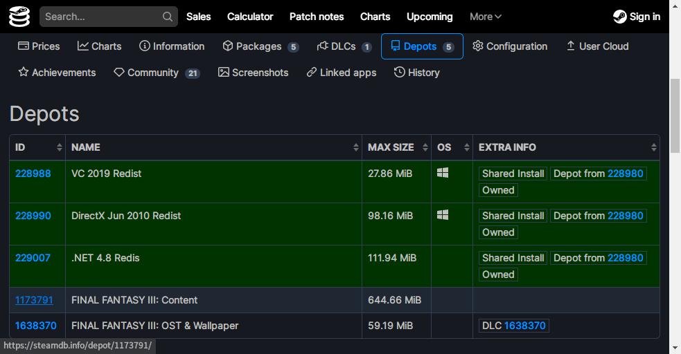 PC ゲームで使われているゲームエンジンを特定する方法、PC ゲームのゲームエンジン特定方法、SteamDB(Steam Database)でゲームエンジンを特定、FINAL FANTASY III - AppID: 1173790、Depots をクリック、Content 表記がある ID 1173791 をクリック