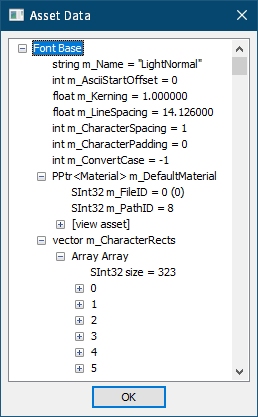 PC ゲーム AI War: Fleet Command で日本語を表示する方法、PC ゲーム AI War: Fleet Command フォント解析内容、AI War: Fleet Command - font_raw ファイル解析およびバイナリエディタ FavBinEdit ウォッチデータ作成方法、UABE(Unity Assets Bundle Extractor)起動後、File → Open をクリックして AIWar_Data フォルダにある sharedassets0.assets ファイルを開く、File ID 0 - Path ID 312 にある LightNormal を選択状態にして View Data ボタンをクリック、Asset Data 画面の Font Base 内容(LightNormal.font_raw)