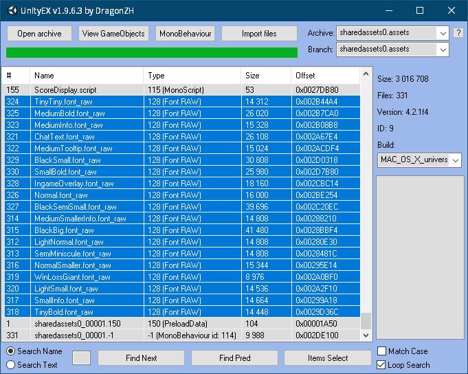 PC ゲーム AI War: Fleet Command で日本語を表示する方法、PC ゲーム AI War: Fleet Command 日本語フォント追加方法、UnityEX を使って AI War: Fleet Command の font_raw ファイル抽出、ゲームインストール先 AIWar_Data フォルダにある sharedassets0.assets ファイルから UnityEX を使って font_raw ファイルを抽出、UnityEX で Type 列をクリックしてソート、128(Font RAW)の font_raw ファイルが対象