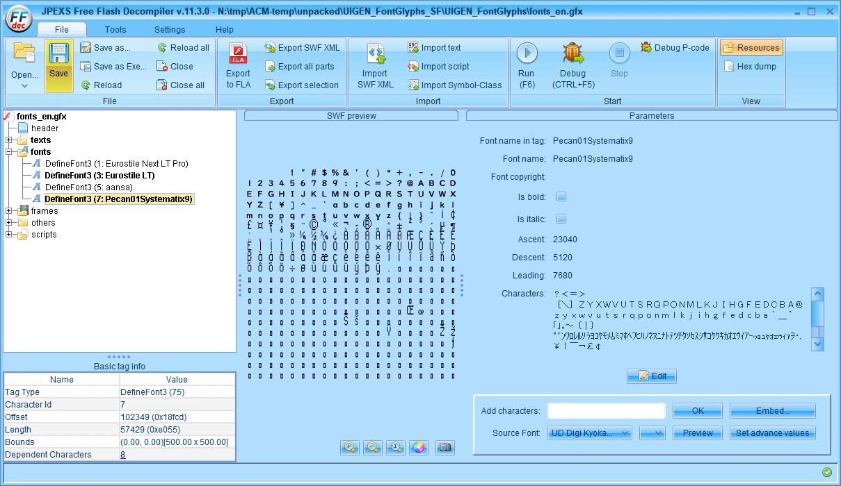 PC ゲーム Aliens: Colonial Marines Collection で日本語を表示する方法、Aliens: Colonial Marines - Scaleform 日本語フォント追加方法(UIGEN_FontGlyphs_SF.upk)、fonts_en.GFxMovieInfo バイナリデータ修正、fonts_en.gfx にファイル名変更、FFDec で fonts_en.gfx に日本語フォント追加、ファイルヘッダーとフッターを元に戻して一部書き換え、FFDec で fonts_en.gfx ファイルを開き、DefineFont3 にある Eurostile LT と Pecan01Systematix9 に日本語フォント(今回は UD デジタル教科書体 NK-B)を追加して保存