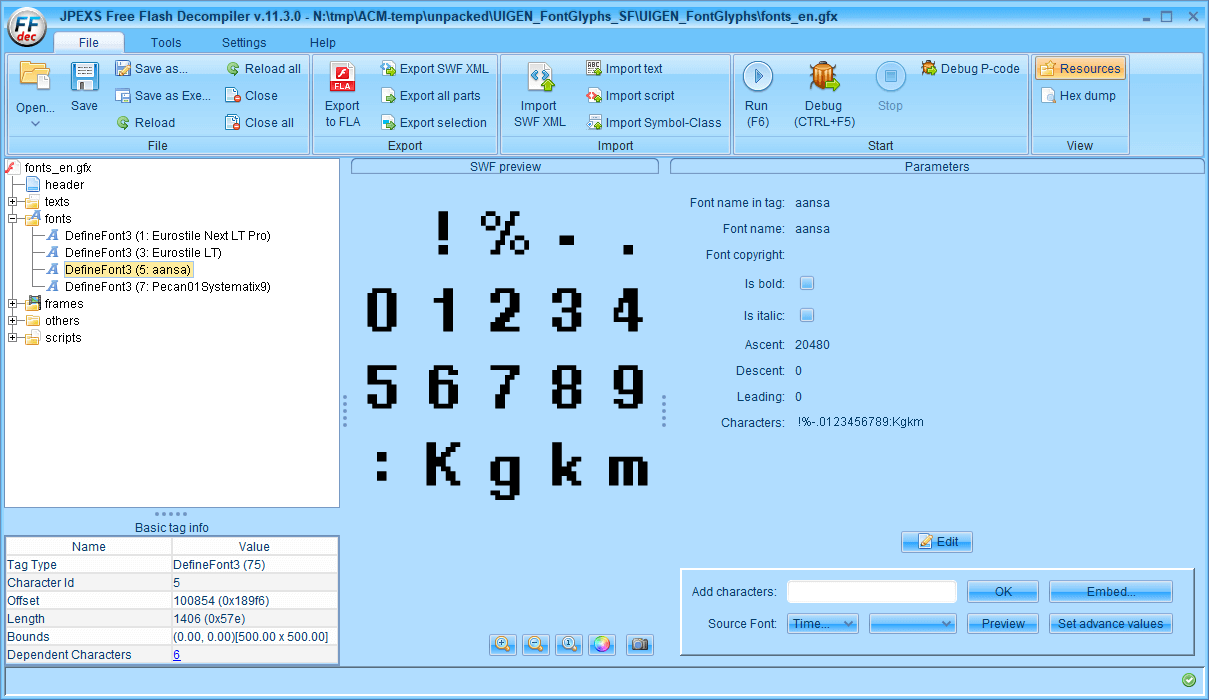 PC ゲーム Aliens: Colonial Marines Collection で日本語を表示する方法、Aliens: Colonial Marines - Scaleform 日本語フォント追加方法(UIGEN_FontGlyphs_SF.upk)、fonts_en.GFxMovieInfo バイナリデータ修正、fonts_en.gfx にファイル名変更、FFDec で fonts_en.gfx に日本語フォント追加、ファイルヘッダーとフッターを元に戻して一部書き換え、FFDec で fonts_en.gfx ファイルを開き、DefineFont3 にある Eurostile LT と Pecan01Systematix9 に日本語フォント追加