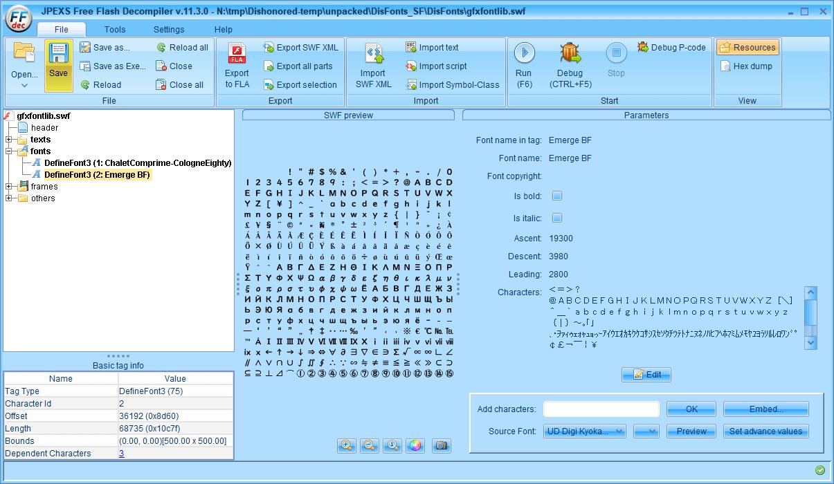 PC ゲーム Dishonored - Definitive Edition で Scaleform 日本語フォント、ビットマップ日本語フォントを追加する方法、Dishonored - Scaleform 日本語フォント追加方法(DisFonts_SF.upk へバイナリデータ追加・書き換え)、FFDec で gfxfontlib.gfx に日本語フォント追加、ファイルヘッダーとフッターを元に戻して一部書き換え、FFDec で gfxfontlib.gfx ファイルを開き、DefineFont3 にある ChaletComprime-CologneEighty と Emerge BF に日本語フォント(今回は UD デジタル教科書体 NK-B)を追加して保存