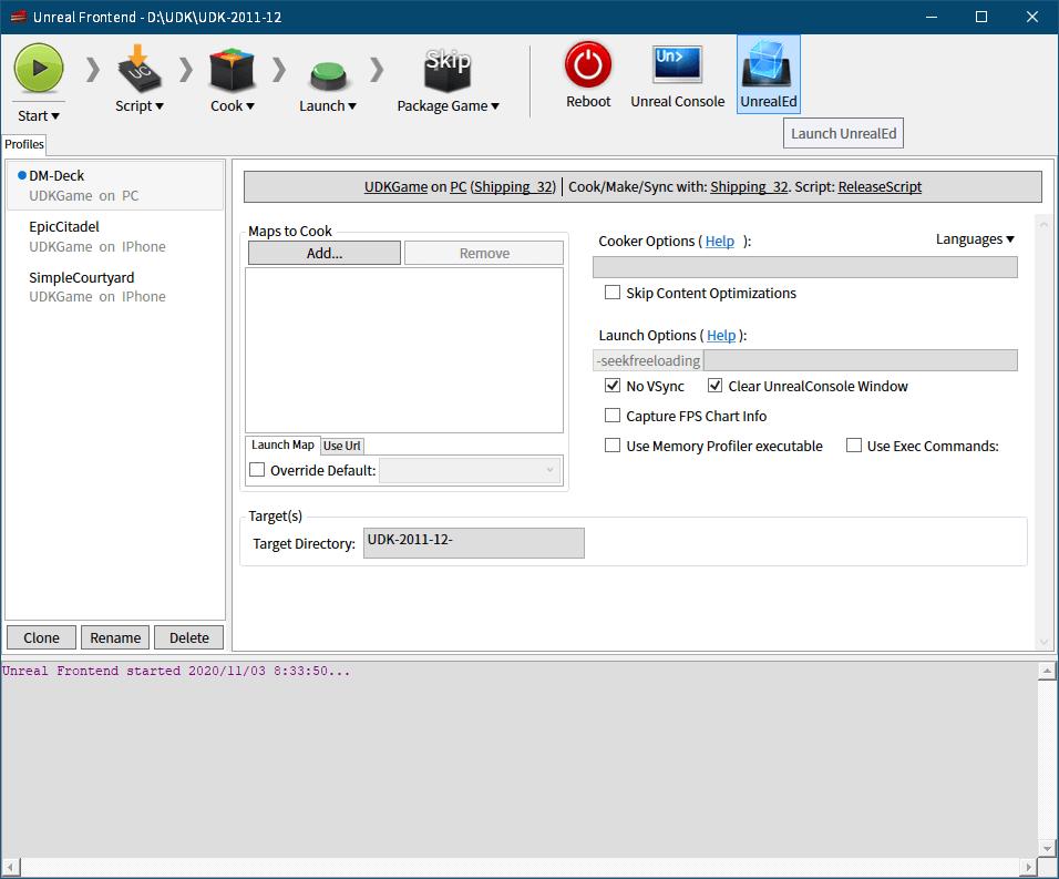 PC ゲーム Dishonored - Definitive Edition で Scaleform 日本語フォント、Dishonored - ビットマップ日本語フォント追加方法(UI_Loading_SF_LOC_INT.upk へバイナリデータ追加・書き換え)、UDK(Unreal Development Kit)(2011年12月版 Beta)日本語ビットマップフォントファイル作成、UDK\UDK-2011-12\Binaries\UnrealFrontend.exe 起動、Unreal Frontend 画面にある UnrealEd をクリックして Unreal Editor 起動