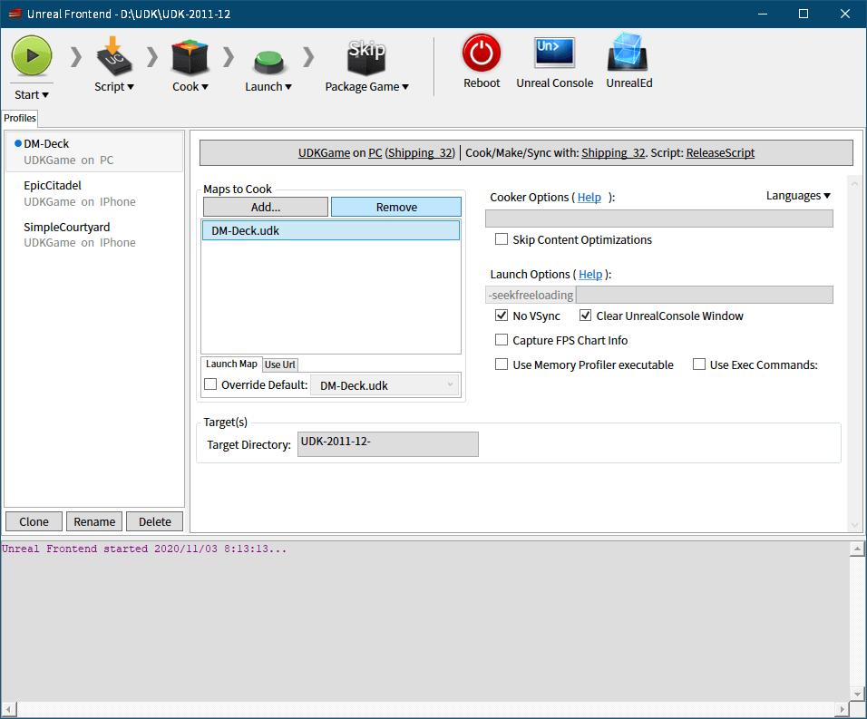 PC ゲーム Dishonored - Definitive Edition で Scaleform 日本語フォント、ビットマップ日本語フォントを追加する方法、おまけ: UDK コンテンツクッキング方法(ビットマップフォント PNG データ削除方法)、UDK\UDK-2011-12\Binaries\UnrealFrontend.exe 起動、Maps to Cook にある DM-Deck.udk を選択して Remove ボタンをクリックして削除