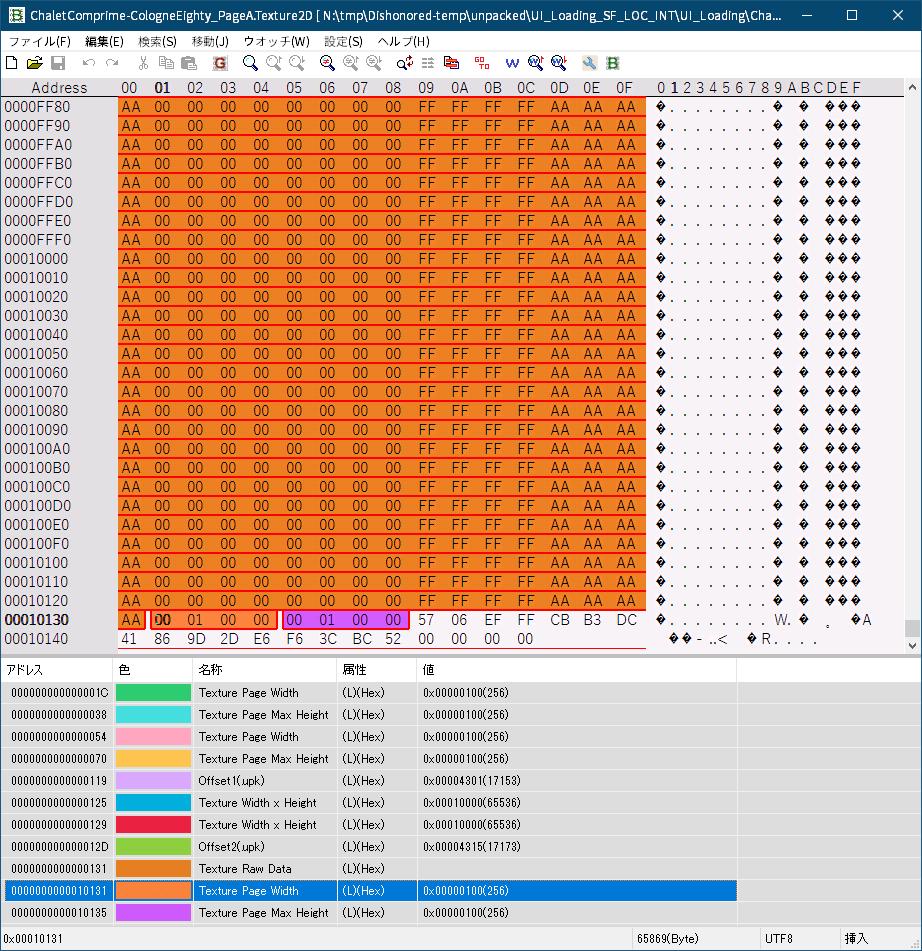 PC ゲーム Dishonored - Definitive Edition で Scaleform 日本語フォント、Dishonored - ビットマップ日本語フォント追加方法(UI_Loading_SF_LOC_INT.upk へバイナリデータ追加・書き換え)、~.Texture2D ファイルバイナリデータ書き換え、英語版 UI_Loading_SF_LOC_INT.upk に含まれる ChaletComprime-CologneEighty_PageA.Texture2D ファイルのバイナリデータ書き換え対象箇所と削除対象箇所(FavBinEdit でウォッチデータ追加)