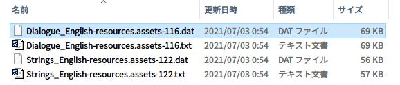 Epic 版 The Fall(Unity 2020.2.2f1)日本語化メモ、Epic 版 The Fall(Unity 2020.2.2f1) - UnityEX 用日本語化 Mod ファイル the_fall_jp_conv_20151228.zip → UABEA 用日本語化 Mod ファイル変換方法、Epic 版 The Fall(Unity 2020.2.2f1) UABEA 用英語 → 日本語テキストファイル置換方法、Epic 版 The Fall インストール先 The Fall_Data フォルダにある resources.assets ファイルを UABEA で開き、Dialogue_English(Path ID 116)を選択した状態で Export Raw をクリックしてエクスポートした Dialogue_English-resources.assets-116.dat ファイル、置換リスト用に不要なタグおよび先頭行スペース・タブの削除後 UTF-8(BOM なし) 形式のテキストファイルで保存