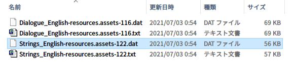 Epic 版 The Fall(Unity 2020.2.2f1)日本語化メモ、Epic 版 The Fall(Unity 2020.2.2f1) - UnityEX 用日本語化 Mod ファイル the_fall_jp_conv_20151228.zip → UABEA 用日本語化 Mod ファイル変換方法、Epic 版 The Fall(Unity 2020.2.2f1) UABEA 用英語 → 日本語テキストファイル置換方法、Epic 版 The Fall インストール先 The Fall_Data フォルダにある resources.assets ファイルを UABEA で開き、Strings_English(Path ID 122)を選択した状態で Export Raw をクリックしてエクスポートした Strings_English-resources.assets-122.dat ファイル、置換リスト用に不要なタグおよび先頭行スペース・タブの削除・整形後 UTF-8(BOM なし) 形式のテキストファイルで保存