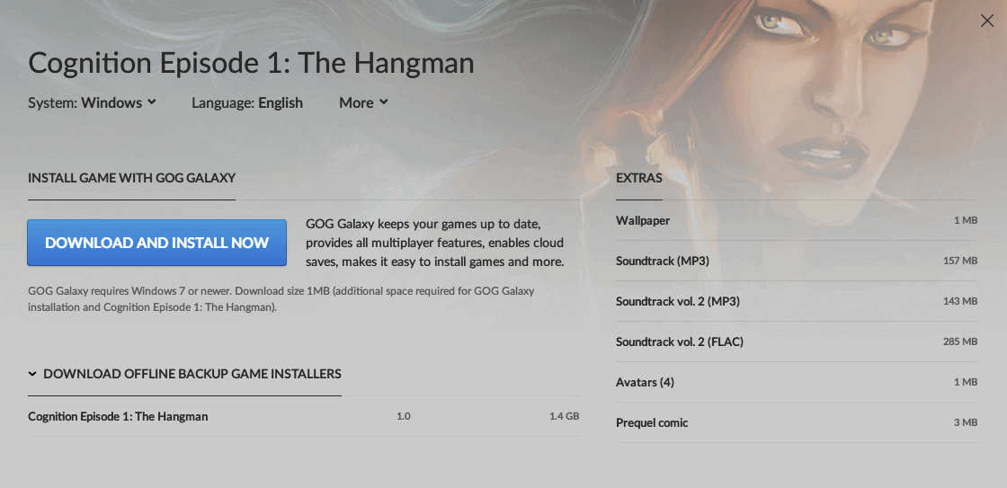 PC ゲーム Cognition: An Erica Reed Thriller 日本語化メモ、PC ゲーム Cognition: An Erica Reed Thriller 日本語化手順、GOG 版 Cognition Episode 1: The Hangman 日本語化可能