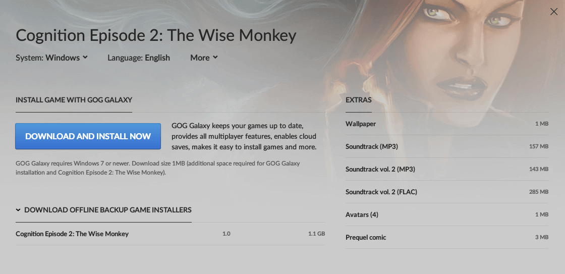 PC ゲーム Cognition: An Erica Reed Thriller 日本語化メモ、PC ゲーム Cognition: An Erica Reed Thriller 日本語化手順、GOG 版 Cognition Episode 2: The Wise Monkey 日本語化可能