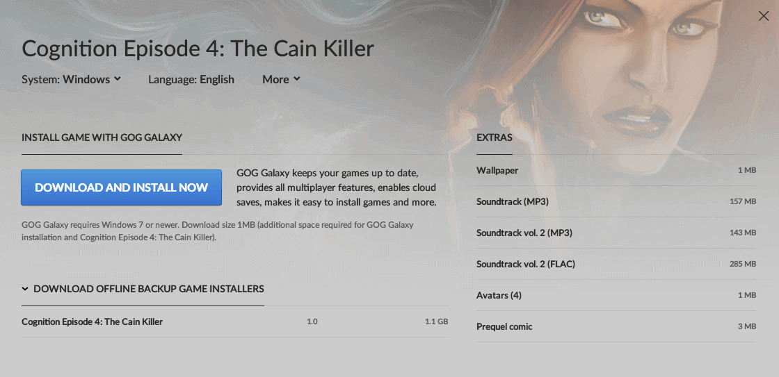PC ゲーム Cognition: An Erica Reed Thriller 日本語化メモ、PC ゲーム Cognition: An Erica Reed Thriller 日本語化手順、GOG 版 Cognition Episode 4: The Cain Killer 日本語化可能