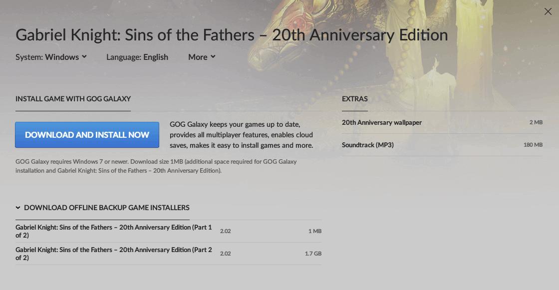 PC ゲーム Gabriel Knight: Sins of the Fathers 20th Anniversary Edition 日本語化メモ、PC ゲーム Gabriel Knight: Sins of the Fathers 20th Anniversary Edition 日本語化手順、GOG 版 Gabriel Knight: Sins of the Fathers 20th Anniversary Edition 日本語化可能