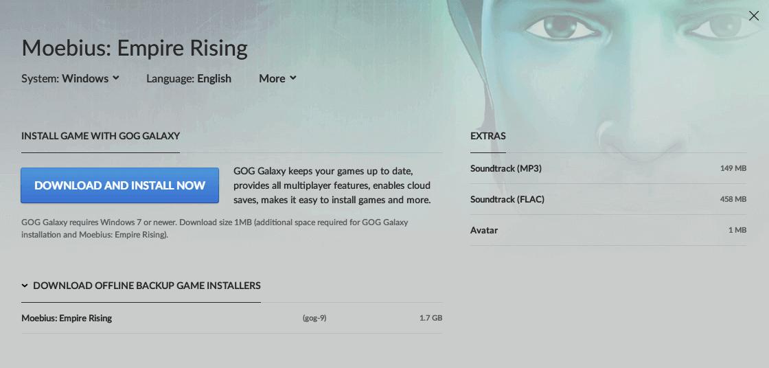 PC ゲーム Moebius: Empire Rising 日本語化メモ、PC ゲーム Moebius: Empire Rising 日本語化手順、GOG 版 Moebius: Empire Rising 日本語化可能