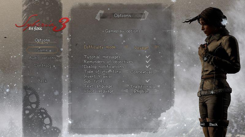 PC ゲーム Syberia 3 で日本語を表示する方法、PC ゲーム Syberia 3 言語ファイル 中国語版 → 英語版差し替え方法、英語テキスト・日本語フォント(ペン字版 Y.OzFont)スクリーンショット