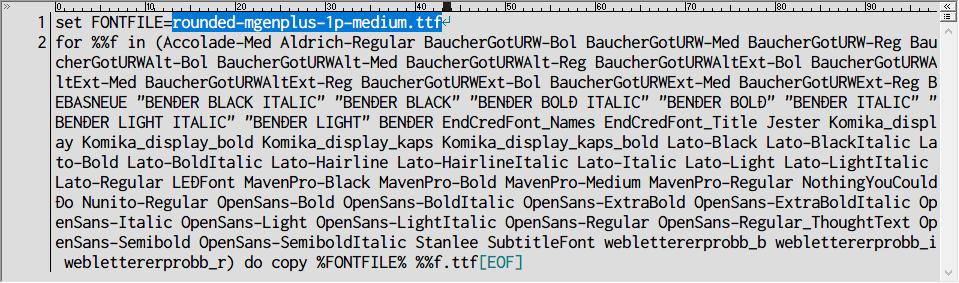 PC ゲーム Moebius: Empire Rising 日本語化メモ、PC ゲーム Moebius: Empire Rising 日本語化手順、Moebius: Empire Rising フォント変更方法、Moebius: Empire Rising 用フォントファイルリネーム&複製バッチファイル作成と実行、バッチファイルを同じフォルダ内に変更したい日本語フォントファイルを配置、バッチファイル 1行目の set FONTFILE= にリネーム&複製したい日本語フォントファイル名を入力してバッチファイルを実行