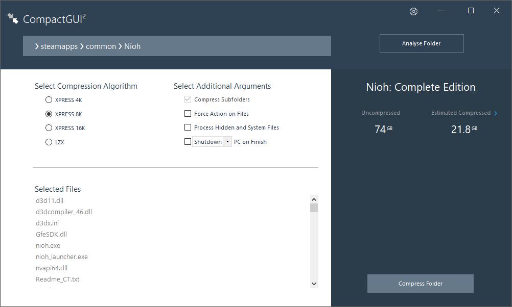 PC ゲーム Nioh: Complete Edition ゲームプレイ最適化メモ、CompactGUI を使った PC ゲーム Nioh: Complete Edition ゲームデータ圧縮、CompactGUI Version 2.6.2 ダウンロードして CompactGUI.exe 実行、Select Target Folder から \steamapps\common\Nioh フォルダを選択、Select Compression Algorithm XPRESS 8K(デフォルト)、Compress Folder ボタンをクリック