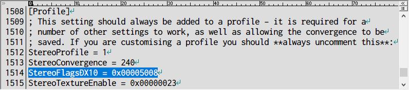 PC ゲーム Nioh: Complete Edition ゲームプレイ最適化メモ、Helix Mod - 3D Vision fix for Nioh: Complete Edition、パフォーマンスモード設定方法、d3dx.ini ファイルの 134行目にある y10=0 を y10=1 に書き換えて、同ファイルの 1514行目にある StereoFlagsDX10 = 0x00005008 を StereoFlagsDX10 = 0x00000008(5 → 0)に書き換えて保存して設定完了