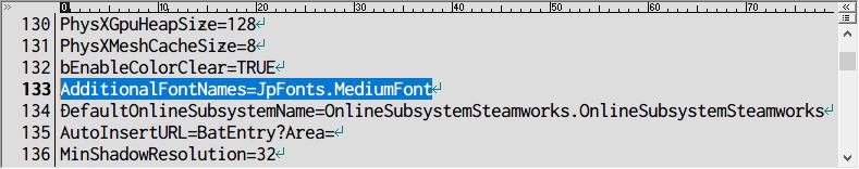 PC ゲーム Batman: Arkham Asylum GOTY Edition 日本語化とゲームプレイ最適化メモ、PC ゲーム Batman: Arkham Asylum GOTY Edition - Advanced Launcher インストール、Advanced Launcher で日本語字幕が表示しなくなった場合の対処法、Advanced Launcher で設定した場合、%USERPROFILE%\Documents\Square Enix\Batman Arkham Asylum GOTY\BmGame\Config フォルダにある BmEngine.ini の読み取り専用のチェックマークを外してテキストエディタで編集、133行目フォント名を日本語フォント名に変更