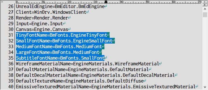 PC ゲーム Batman: Arkham Asylum GOTY Edition 日本語化とゲームプレイ最適化メモ、PC ゲーム Batman: Arkham Asylum GOTY Edition - Advanced Launcher インストール、Advanced Launcher で日本語字幕が表示しなくなった場合の対処法、Advanced Launcher で設定した場合、%USERPROFILE%\Documents\Square Enix\Batman Arkham Asylum GOTY\BmGame\Config フォルダにある BmEngine.ini の読み取り専用のチェックマークを外してテキストエディタで編集、31~35行目デフォルトフォント名が設定