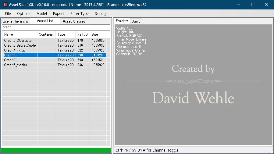 PC ゲーム Home is Where One Starts... 日本語化メモ、PC ゲーム Home is Where One Starts... インターフェイス日本語化ファイル公開、AssetStudioGUI で sharedassets1.assets ファイルを開いた際に Assets List にある、クリア後に表示されるクレジットテクスチャファイル