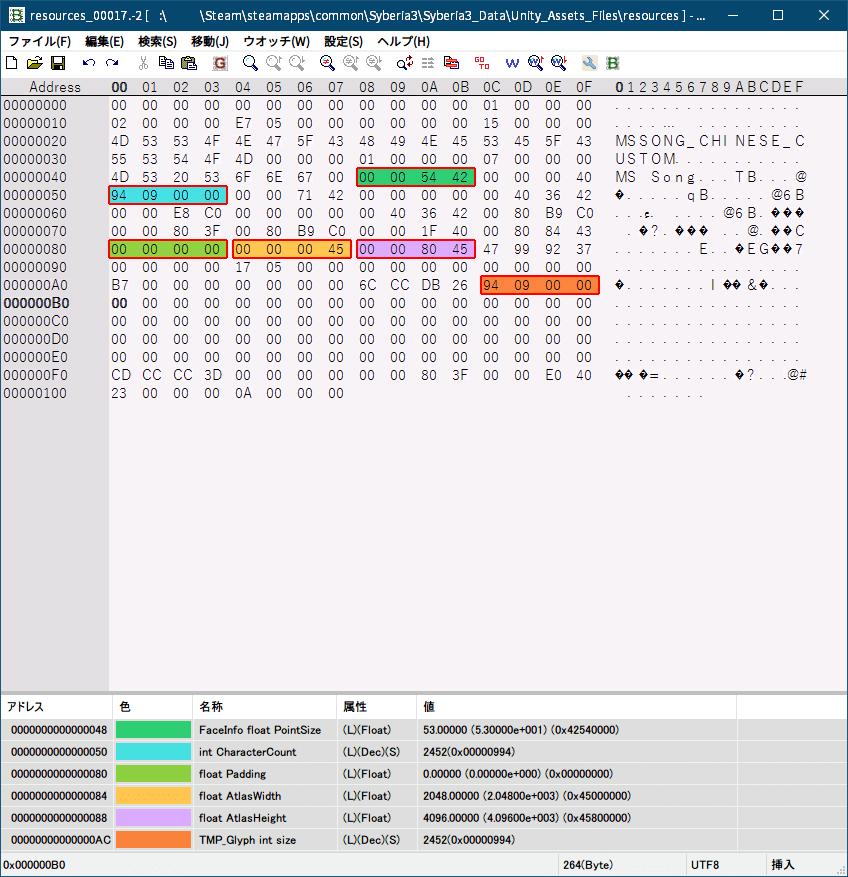 PC ゲーム Syberia 3 で日本語を表示する方法、PC ゲーム Syberia 3 用 TextMesh Pro 日本語フォント作成方法、Syberia 3 中国語(繁体字)フォントデータ → 日本語フォントデータ書き換え、Syberia3_Data フォルダにある resources.assets ファイルから、UnityEX でエクスポートした resources_00017.-2 ファイルをバイナリエディタで開き、ウォッチデータを読み込んで中国語(繁体字)フォントから日本語フォントデータに書き換え、TMP_Glyph data をすべて削除