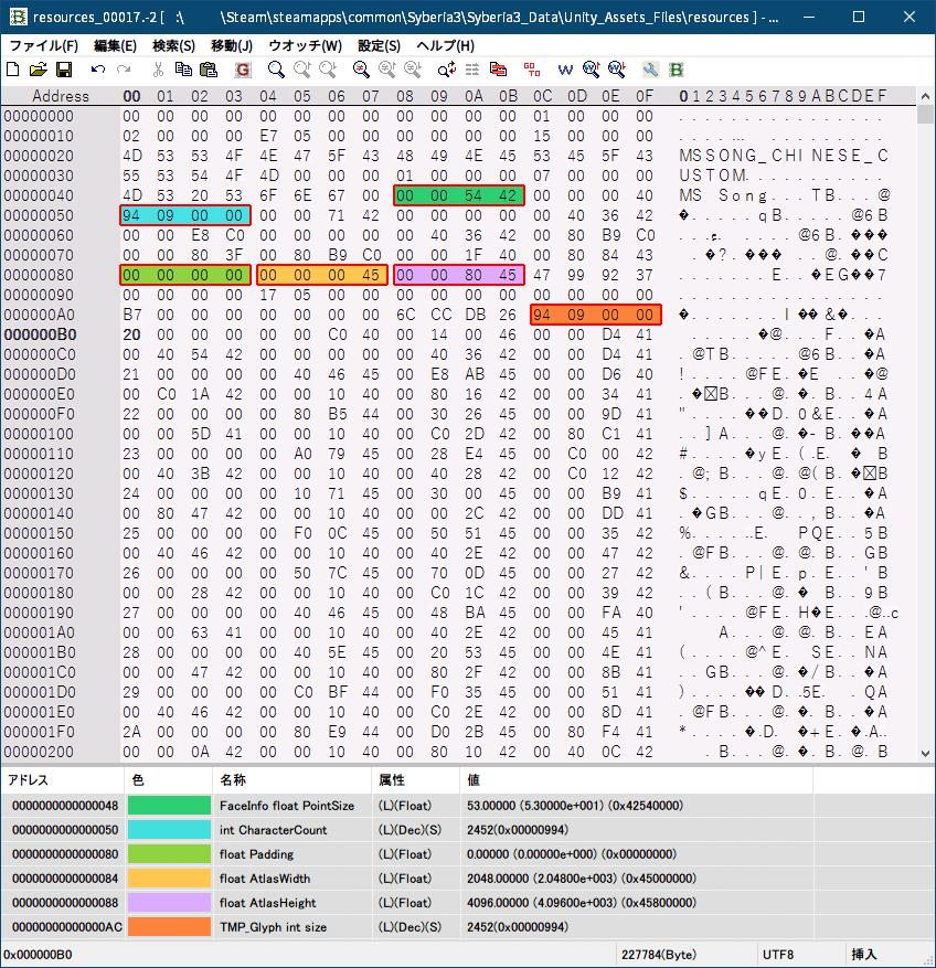 PC ゲーム Syberia 3 で日本語を表示する方法、PC ゲーム Syberia 3 用 TextMesh Pro 日本語フォント作成方法、Syberia 3 中国語(繁体字)フォントデータ → 日本語フォントデータ書き換え、Syberia3_Data フォルダにある resources.assets ファイルから、UnityEX でエクスポートした resources_00017.-2 ファイルをバイナリエディタで開き、ウォッチデータを読み込んで中国語(繁体字)フォントから日本語フォントデータに書き換え、削除した TMP_Glyph data があったアドレス(ウォッチデータ TMP_Glyph int size がある次のアドレス)に日本語フォントデータの TMP_Glyph data を追加