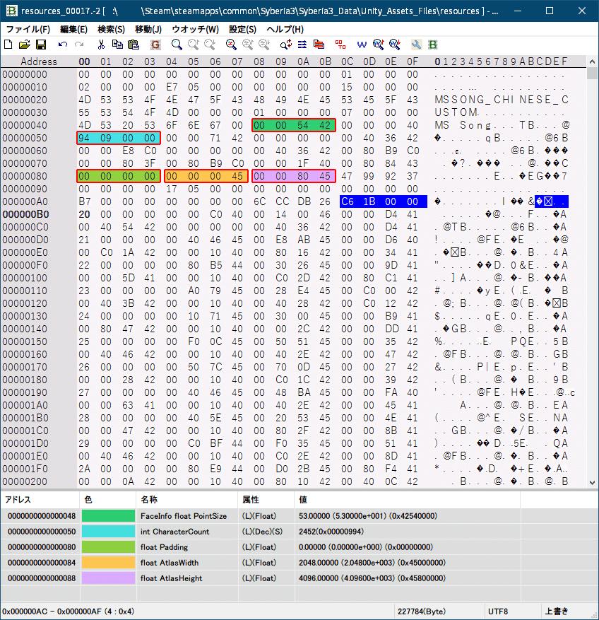 PC ゲーム Syberia 3 で日本語を表示する方法、PC ゲーム Syberia 3 用 TextMesh Pro 日本語フォント作成方法、Syberia 3 中国語(繁体字)フォントデータ → 日本語フォントデータ書き換え、Syberia3_Data フォルダにある resources.assets ファイルから、UnityEX でエクスポートした resources_00017.-2 ファイルをバイナリエディタで開き、ウォッチデータを読み込んで中国語(繁体字)フォントから日本語フォントデータに書き換え、ウォッチデータ TMP_Glyph int size を日本語フォントデータの TMP_Glyph int size に書き換え、文字数 7,110 の場合 16進数で 0x1BC6 リトルエンディアンで C6 1B 00 00