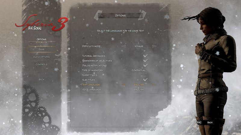 PC ゲーム Syberia 3 で日本語を表示する方法、PC ゲーム Syberia 3 日本語フォントサンプルファイル公開、Syberia 3 日本語フォントサンプルファイルインストール方法、UnityEX で Unity_Assets_Files フォルダのファイルをインポートした後、ゲームを起動して OPTIONS → GAME にある TEXT LANGUAGE を ENGLISH から 日本語(繁體中文から書き換え)に変更