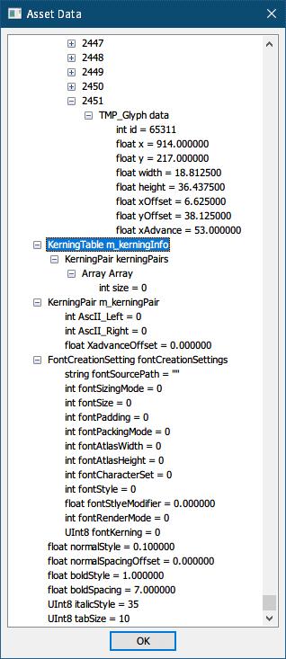 PC ゲーム Syberia 3 で日本語を表示する方法、PC ゲーム Syberia 3 中国語(繁体字)フォント解析、UABE(Unity Assets Bundle Extractor 2.2 stable d)で Syberia3_Data フォルダにある resources.assets ファイルを開き、Path ID 11128 の MonoBehaviour MSSONG_CHINSE_CUSTOM を選択して View Data をクリック、Asset View 画面メッセージで 「はい」 を選択、Open the Assembly file 画面で 「キャンセル」 を選択、MonoBehaviour MSSONG_CHINSE_CUSTOM の Asset Data 内容、TMP_Glyph(m_glyphInfoList)データ終端の内容