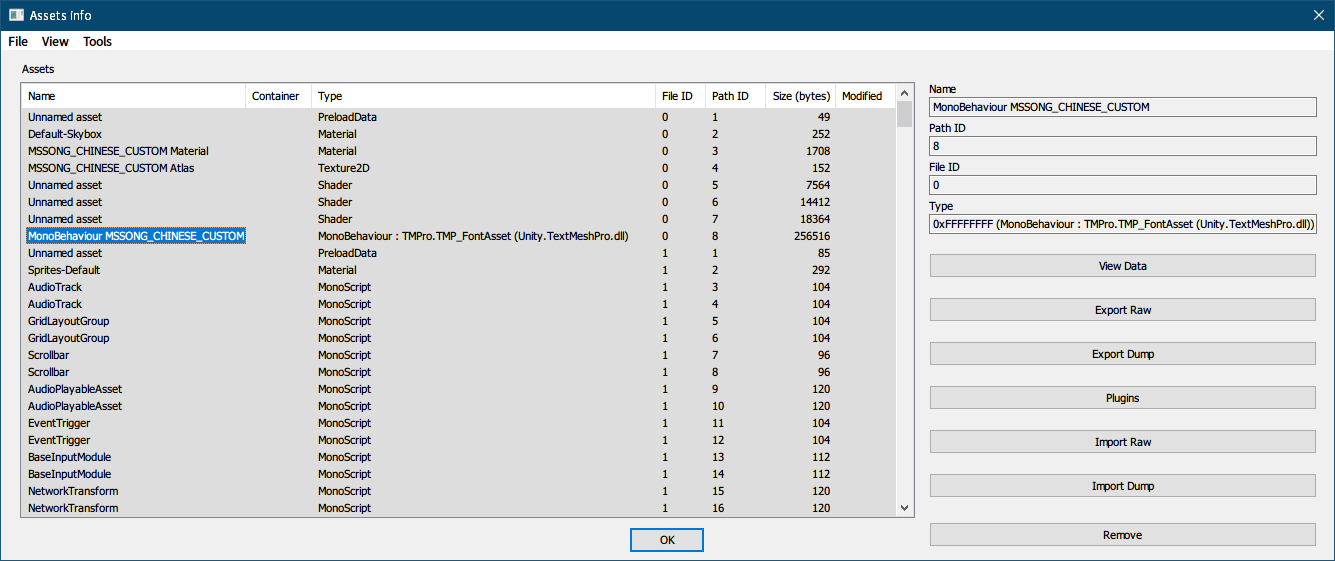PC ゲーム Syberia 3 で日本語を表示する方法、PC ゲーム Syberia 3 用 TextMesh Pro 日本語フォント作成方法、TextMesh Pro 1.2.2 作成日本語フォント解析、Unity 2018.4.34.f1 で作成した TextMesh Pro 日本語フォントがあるプロジェクトをビルド後、sharedassets0_assets(フォント座標情報)アセットファイルを UABE(Unity Assets Bundle Extractor 2.2 stable d)で開き、Path ID 8 の MonoBehaviour MSSONG_CHINSE_CUSTOM を選択して View Data をクリック