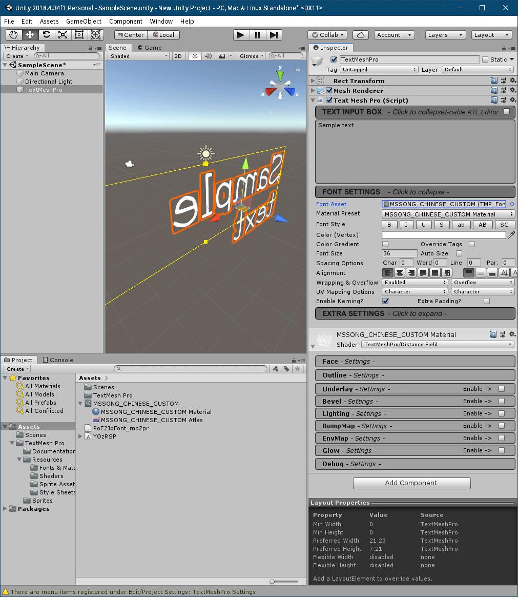 PC ゲーム Syberia 3 で日本語を表示する方法、PC ゲーム Syberia 3 用 TextMesh Pro 日本語フォント作成方法、TextMesh Pro 1.2.2 日本語フォント作成、Unity 2018.4.34.f1 のメインメニューから GameObject → 3D Object → TextMeshPro - Text をクリック、FONT SETTINGS の Font Asset に生成した MSSONG_CHINESE_CUSTOM に設定