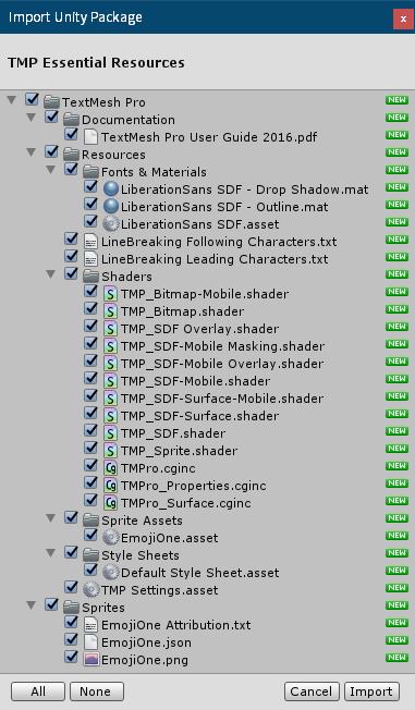 PC ゲーム Syberia 3 で日本語を表示する方法、PC ゲーム Syberia 3 用 TextMesh Pro 日本語フォント作成方法、TextMesh Pro 1.2.2 日本語フォント作成、Unity 2018.4.34.f1 のメインメニューから Window → TextMeshPro → Import TMP Essential Resources をクリック、Import Unity Package 画面で Import ボタンをクリック
