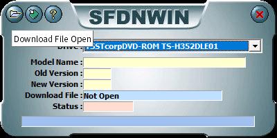 東芝サムスン製 DVD ドライブ TS-H352D の SH-D162D 化メモ、DVD ドライブ TS-H352D をファームウェアアップデートで SH-D162D 化、管理者権限でコマンドプロンプトを起動、cd コマンドでファームウェアアップデートツール・ファイルがあるフォルダに移動、sfdnwin.exe -nocheck を実行後、MESSAGE 画面 -Nocheck Use!! が表示、OK ボタンで閉じると SFDNWIN 画面が表示、Drive が TSSTcorpDVD-ROM TS-H352DLE01 が選択されていることを確認して画面一番左上にある Download File Open ボタンをクリック