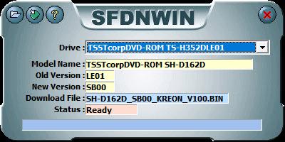 東芝サムスン製 DVD ドライブ TS-H352D の SH-D162D 化メモ、DVD ドライブ TS-H352D をファームウェアアップデートで SH-D162D 化、管理者権限でコマンドプロンプトを起動、cd コマンドでファームウェアアップデートツール・ファイルがあるフォルダに移動、sfdnwin.exe -nocheck を実行後、MESSAGE 画面 -Nocheck Use!! が表示、OK ボタンで閉じると SFDNWIN 画面が表示、Drive が TSSTcorpDVD-ROM TS-H352DLE01 が選択されていることを確認して画面一番左上にある Download File Open ボタンをクリック、ダウンロードして展開・解凍した TS-H352D 用ファームウェアアップデートツール・ファイル SH-D162D_SB00_KREON_V100.zip に含まれる SH-D162D_SB00_KREON_V100.BIN を開くと MESSAGE 画面 Old Version Opened!! が表示、OK ボタンで閉じると SFDNWIN 画面に戻りファームウェアアップデートの準備完了