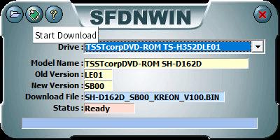 東芝サムスン製 DVD ドライブ TS-H352D の SH-D162D 化メモ、DVD ドライブ TS-H352D をファームウェアアップデートで SH-D162D 化、管理者権限でコマンドプロンプトを起動、cd コマンドでファームウェアアップデートツール・ファイルがあるフォルダに移動、sfdnwin.exe -nocheck を実行後、MESSAGE 画面 -Nocheck Use!! が表示、OK ボタンで閉じると SFDNWIN 画面が表示、Drive が TSSTcorpDVD-ROM TS-H352DLE01 が選択されていることを確認して画面一番左上にある Download File Open ボタンをクリック、ダウンロードして展開・解凍した TS-H352D 用ファームウェアアップデートツール・ファイル SH-D162D_SB00_KREON_V100.zip に含まれる SH-D162D_SB00_KREON_V100.BIN を開くと MESSAGE 画面 Old Version Opened!! が表示、OK ボタンで閉じると SFDNWIN 画面に戻りファームウェアアップデートの準備完了、画面左上の中央にある Start Download ボタンをクリックするとファームウェアアップデート開始