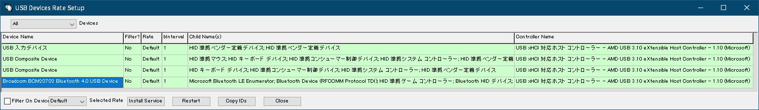 DUALSHOCK 4 ワイヤレスコントローラーの購入と操作を快適にする便利なアイテムをまとめてそろえてみました、Bluetooth USB アダプターのポーリング間隔(bInterval)チェック、hidusbf の Setup.exe 実行後の USB Devices Rate Setup 画面、Local Emulator で Run in Japanese か Run in Japanese(Admin) で起動した場合は文字化けせず正常に日本語文字表示、Broadcom BCM20702 Bluetooth 4.0 USB Device が Bluetooth USB アダプター USB-BT40LE、bInterbal(ポーリング間隔)は 1(ms)設定
