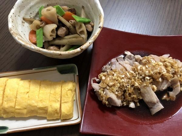 浅草橋 バカル 居酒屋 食堂 晩酌 筑前煮と茹で鶏ネギソース