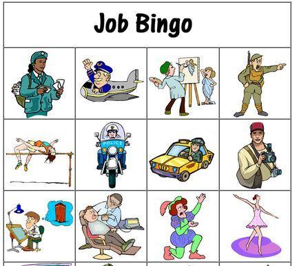 仕事の名前学習用ビンゴカード jobs bingo card1