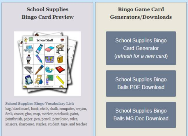 英語イラストビンゴカード作成サイトBingo-card-maker-1