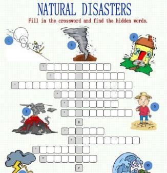 英語クロスワードパズル自然災害英単語Natural-Disasters-Crossword-Puzzle