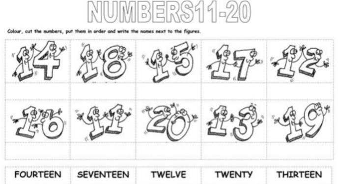 英語数字11から20ワークシートNumbers-11to20-worksheet2