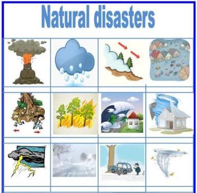 自然災害英単語ワークシートPicture-dictionary-Natural-disasters