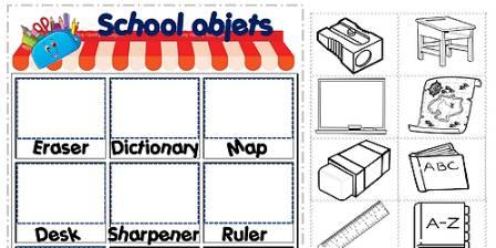 英語文房具屋さん工作プリントSchool-objects-worksheet3