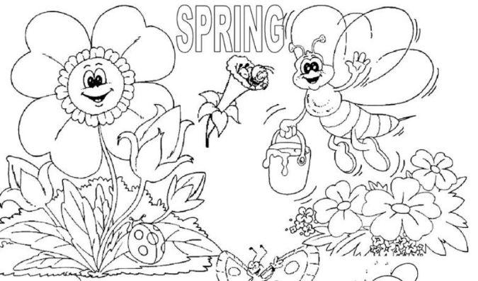 塗り絵春Spring coloring