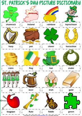 セントパトリックスデー英単語イラストポスターSt-Patrick's-Day-Picture-Dictionary