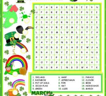 セントパトリックスデー英単語ワードサーチSt-Patrick's-Day-Wordsearch-Worksheet2