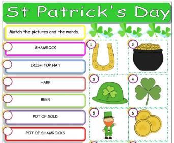 セントパトリックスデー英単語プリントSt-Patrick's-Day-Worksheet1
