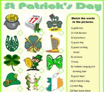 セントパトリックスデー英単語プリントSt-Patrick's-Day-Worksheet2