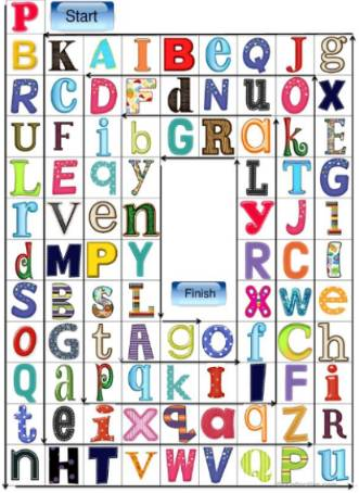 アルファベットスゴロク台紙alphabet-boardgame2