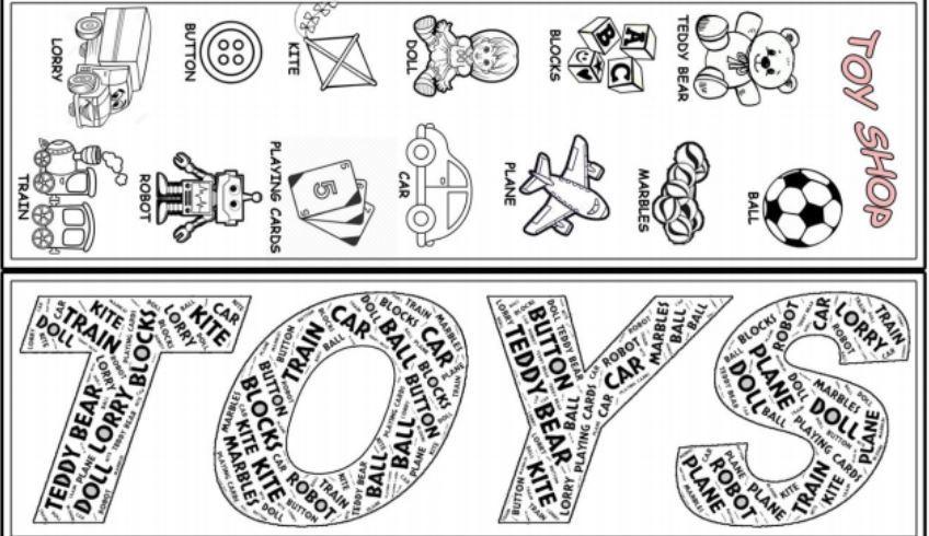 おもちゃの名前英単語しおり型紙Toys-bookmark